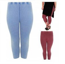 Ladies Summer Travel Holiday Stretch Leggings Blue or Wine Plus Size 18 to 22 UK
