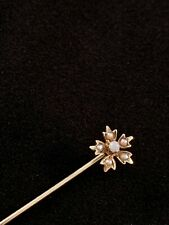 VINTAGE ART NOUVEAU 14K YELLOW GOLD STICK PIN: SEED PEARL & OPAL FLOWER - SIGNED