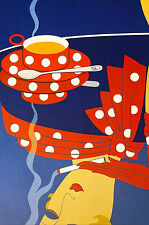 Erte 1982 - REFLECTIONS Smoking Lady RED POLKA DOTS - Art Deco Print Matted