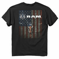 Dodge Mens Graphic T-shirt RAM Skulls and Stripes Black T-shirt Adult Size