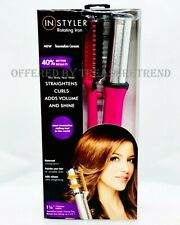 "InStyler Rotating Hot Brush Curling Iron Tourmaline Ceramic 1.25"" Barrel PINK"