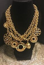 MASSIVE RARE 80's VINTAGE GIVENCHY PARIS LOGO HAUTE COUTURE CHARM NECKLACE