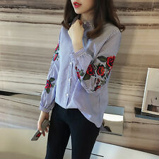 Korean Style Summer Women Casual Floral Long Sleeve Embroidery Blouse Shirt Tops