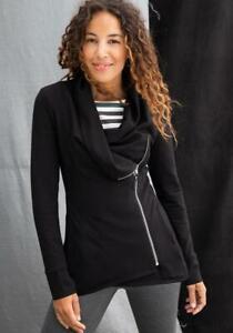 NWT Women's Matilda Jane Lala Ponte Black Zippered Jacket Size XL