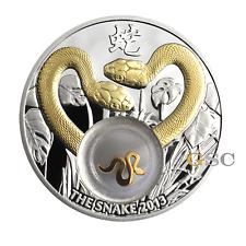 Niue Island 2012 1$ Goldene Schlangen Silbermünze mit Gold-Elemente