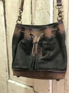 STS Ranchwear Heritage Brown Suede & Leather Concealed Carry Bucket Bag STS37027