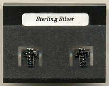 Cross Black CZ Sterling Silver 925 Studs Earrings Carded
