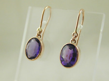 9ct rose gold oval cut amethyst drop earrings French hook fitting 2.40 cts