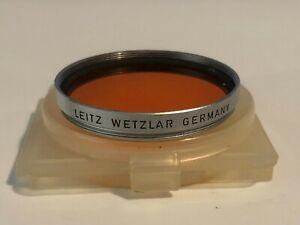Leitz Wetzlar 39mm Or Orange Filter Silver Ring with Plastic Case