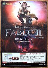 Fable II 2 RARA XBOX 360 51.5 CM x 73 cm giapponese PROMO POSTER
