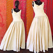 Vintage 80s Wedding Beaded Dress Organza Tulle Silk Party Evening Gown