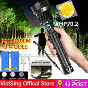 9900000LM Super Bright LED Zoom USB Rechargeable Tactical Flashlight Torch Light