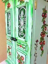 Storage Cabinet green hand painted 43x27x16 cm