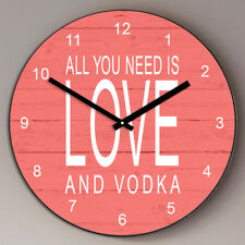 Personalised All you need is love & Wine Vodka Gin Football Friend Wooden Clock