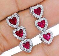AAA Grade 2CT Ruby & White Topaz 925 Sterling Silver Earrings Jewelry, V3