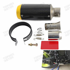 51mm Slip-On Motorcycle & Scooter Exhaust Muffler Carbon Fiber Short Round Gold