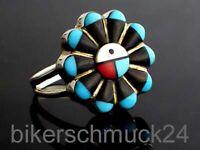 Indianer Schmuck Navajo Damen Ring Türkis Koralle 925 Silber Jet und Koralle