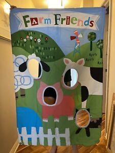 "Pottery Barn Kids COUNTY FAIR PARTY PHOTO OP BANNER Farm Zoo Animals 53"" x 35"""