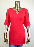 CHICO'S TRAVELER NWT SIZE 2 (L) RED GOLD-RING COLD-SHOULDER TUNIC $96