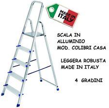 SCALA IN ALLUMINIO SGABELLO COLIBRI CASA 4 GRADINI SUPER LEGGERA ROBUSTA ITALY