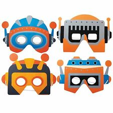 4 Space Robot Foam Masks - Childrens Fancy Dress / Halloween Face Masks
