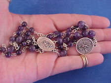 AMETHYST Gemstone Rosary Chaplet Angelic Crown of St MICHAEL the ARCHANGEL Medal