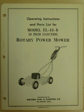 "WESTERN TOOL 18"" ELECTRIC ROTARY POWER MOWER INSTRUTIONS, PARTS MANUAL EL-18-B"