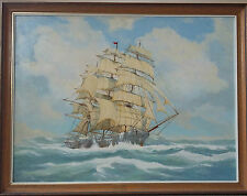 E J STEAD 1988 Signed Original Oil Painting Galley Ship Sailing in the Ocean