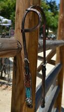 Circle Y Dark Oil One Ear Headstall Turquoise Gator Inlay & Filigree Tooling