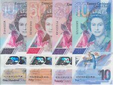 Eastern Caribbean NEW 2019 Polymer banknote Set 10, 20, 50 & 100  Dollars, UNC