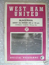 1959 WEST HAM UNITED v BLACKPOOL, 16th Feb (League Division One)