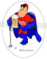 BUD MAN GOLF FAN beer art sticker decal bud-man 19th hole