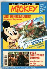 LE JOURNAL DE MICKEY n°2103 ¤ 1992 ¤ + CADEAU POSTER DINOSAURES 2 ¤ 1492 COLOMB