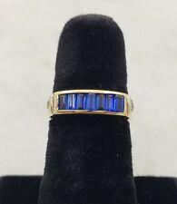 18K Yellow Gold Ladies Ring w/ Blue stones and Diamonds