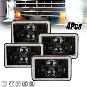 """4Pcs 4x6"""" LED Headlights DRL And Amber Turn Signal For Chevrolet Trucks Lorrys"""