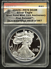 First Release: 2013-w United States Proof Silver Eagle ANACS PR-70 DCAM