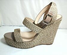 Vince Camuto Women's Open Toe Canvas Gold Wedge Sandal~Size 11