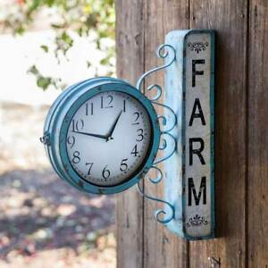 Country new FARM STATION Hanging Tin Wall Clock - 2 sided