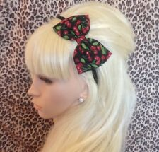 """NEW BLACK RED CHERRY FRUIT PRINT COTTON FABRIC 5"""" SIDE BOW ALICE HAIR HEAD BAND"""