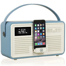 VQ Retro MKII DAB+ Digital FM Radio, Apple iPod Dock, Bluetooth - Blue