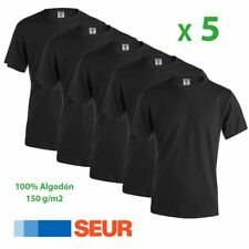 Pack 5 Camisetas Negra Adulto Algodon 150g/m2 Lisa Manga Corta Hombre 3,57€/ud