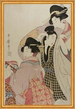 Two Geishas and a Tipsy Client Kitagawa Utamaro Japan Frauen Tracht B A2 02763