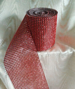 1 metre of red diamante effect ribbon mesh banding 1 - 24 rows wide (5mm -120mm)