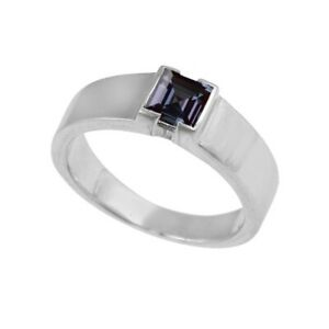 Men Ring Alexandrite Ring June Birthstone Color Changing Ring Square Cut Gems