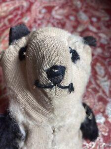 Rare 1930s Vintage Johnson & Johnson Mohair Baby Powder Panda Bear Teddy