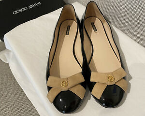 Giorgio Armani Ballet Black Nero with bow Flats Size 40 Made In Italy With Box