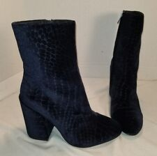 NEW FREE PEOPLE ASH BLUE CROC EMBOSSED VELVET ANKLE BOOTS US 8 EU 38