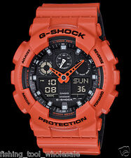 GA-100L-4A Orange G-Schock Casio Uhren 200m Resin Band Analog Digital New Light