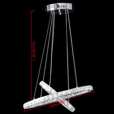 Cercle LED Cristal Pendentif Lumière Lustre Salle à Manger Salon lampe Ellipse