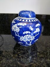 Antique Chinese Vase Prunus Design China Porcelain Blue &White dbl blue mark